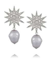 Kenneth Jay Lane - Metallic Rhodium-plated Crystal And Faux Pearl Earrings - Lyst