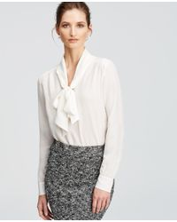 Ann Taylor | White Silk Tie Neck Blouse | Lyst