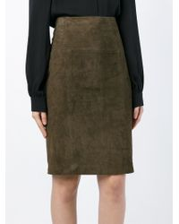 Eleventy Brown Suede Pencil Skirt