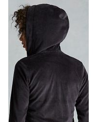 True Religion | Black Velour Cropped Zip Up Womens Hoodie | Lyst