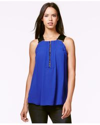 RACHEL Rachel Roy | Blue Sleeveless Elastic-strap Top | Lyst