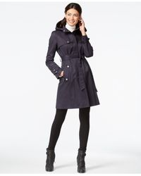DKNY | Blue Hooded Belted Trench Coat | Lyst