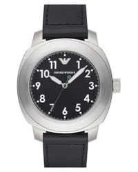 Emporio Armani - Black Round Leather Strap Watch for Men - Lyst