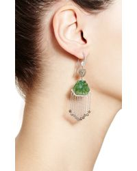 Nina Runsdorf | Green 18k White Gold Slice Emerald and Organic Diamond Briolet Earrings with Diamond Fringe | Lyst