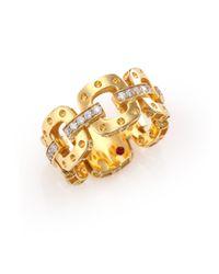 Roberto Coin | Metallic Pois Moi Diamond & 18k Yellow Gold Chain Band Ring | Lyst