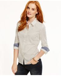 Tommy Hilfiger | Natural Dot-print Shirt | Lyst