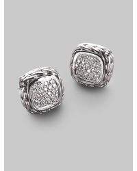 John Hardy - White Classic Chain Diamond & Sterling Silver Small Square Stud Earrings - Lyst