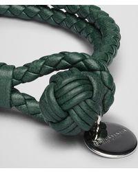Bottega Veneta Emerald Green Intrecciato Nappa Bracelet for men