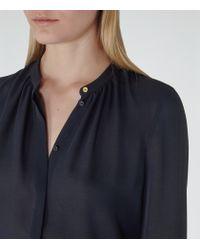 Reiss - Blue Holloway Pintuck-neckline Blouse - Lyst