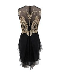 Notte by Marchesa - Black Sleeveless Gold Lace Cocktail Dress - Lyst
