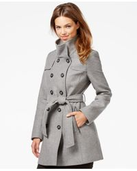 DKNY - Gray Double-breasted Belted Peacoat - Lyst