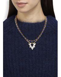 John & Pearl - Metallic Nova Gold Plated Swarovski Necklace - Lyst
