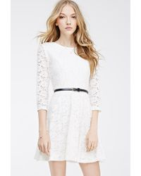 0c20db0561d Lyst - Forever 21 Belted Lace Skater Dress in White