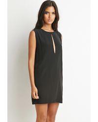 Forever 21 | Black Slit-neck Textured Dress | Lyst