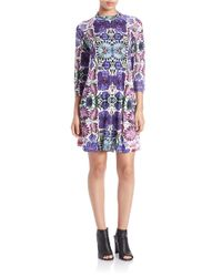 Free People | Purple Floral Shift Dress | Lyst
