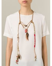Etro - Brown Rope Long Feather Bead Necklace - Lyst