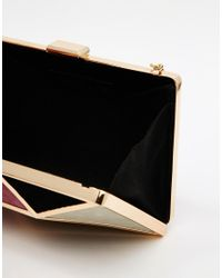 Glamorous   Metallic Clutch Bag In Tan Patchwork   Lyst