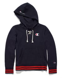 Champion - Blue Europe Premium Reverse Weave® Lace Up Hoodie - Lyst