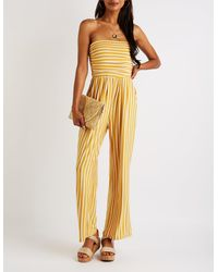 c675f9943b3 Lyst - Charlotte Russe Striped Off The Shoulder Jumpsuit in Yellow