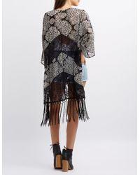 Charlotte Russe - Black Lace-inset Fringe Hem Kimono - Lyst