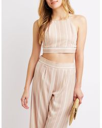 4e0a3895a Lyst - Charlotte Russe Striped Tie-back Crop Top in Natural