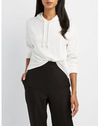 Charlotte Russe - White Cropped Drawstring Hoodie - Lyst