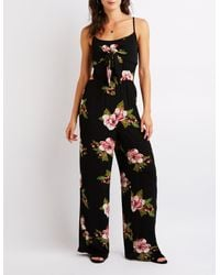 a60aebd7f34 Lyst - Charlotte Russe Floral Tie Front Jumpsuit in Black