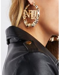 Charlotte Russe - Metallic Embellished Hoop Circle Earrings - Lyst