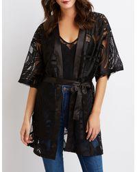 Charlotte Russe - Black Floral Lace Kimono - Lyst