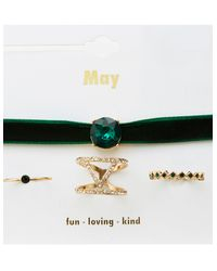 Charlotte Russe - Green May Birthstone Choker Necklace & Rings Set - Lyst