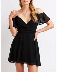 Charlotte Russe - Black Cold Shoulder Wrap Skater Dress - Lyst