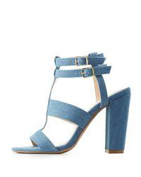 Charlotte Russe - Blue Caged Block Heel Sandals - Lyst