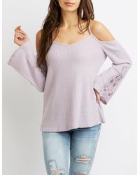 Charlotte Russe - Purple Crochet Detailed Cold-shoulder Waffle Knit Top - Lyst