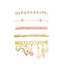 Charlotte Russe - Metallic Sweet Charm Layering Bracelets - 5 Pack - Lyst