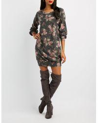 Charlotte Russe - Black Floral Sweatshirt Dress - Lyst