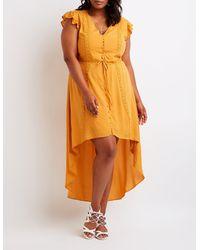 Charlotte Russe - Orange Plus Size Button Up High Low Dress - Lyst