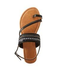 Charlotte Russe - Black Embellished Flat Sandals - Lyst