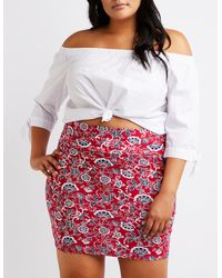 ee1b26c7f Lyst - Charlotte Russe Plus Size Paisley Bodycon Mini Skirt in Red