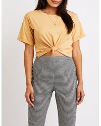 Charlotte Russe - Multicolor Rolled Sleeve Crew Neck Tee - Lyst