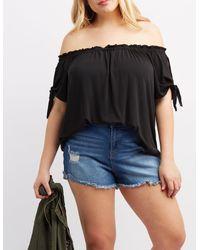 Charlotte Russe - Black Plus Size Off-the-shoulder Split Sleeve Top - Lyst