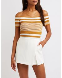 8d91a53911e Lyst - Charlotte Russe Striped Off The Shoulder Top in White