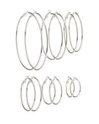 Charlotte Russe - Metallic Cascade Hoop Earrings - 6 Pack - Lyst