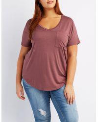 Charlotte Russe - Purple Plus Size V-neck Boyfriend Pocket Tee - Lyst