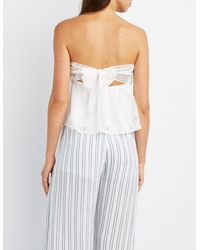 Charlotte Russe - White Tie-back Lace Strapless Top - Lyst
