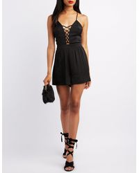 Charlotte Russe - Black Satin Lattice-front Romper - Lyst