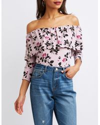 6cefd1dbb0270d Lyst - Charlotte Russe Floral Print Ruflfle Off-the-shoulder Top in Pink
