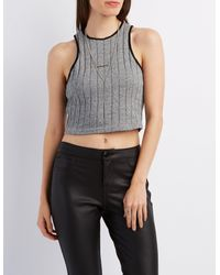 7e8db7783e8de5 Lyst - Charlotte Russe Ribbed Racer Front Crop Top in Gray