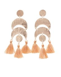 Charlotte Russe - Metallic Hammered Metal & Tassel Drop Earrings - Lyst