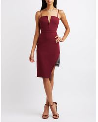 52d5b4afdfb Lyst - Charlotte Russe Lace-trim Asymmetrical Bodycon Dress in Red
