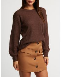 170937136 Lyst - Charlotte Russe Ribbed Pullover Tunic Sweater in Brown